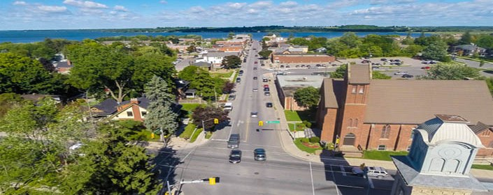Arial view of the Town of Port Perry