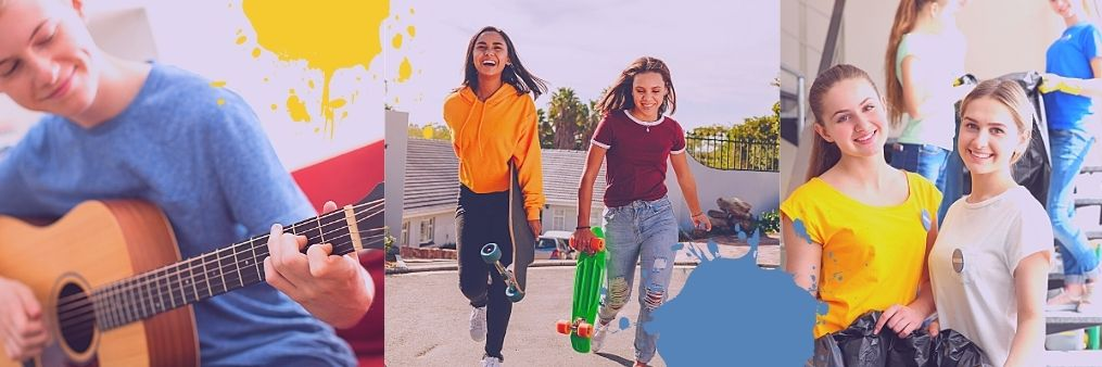 collage of young boy playing guitar, two girls with skateboards and two girls picking up litter