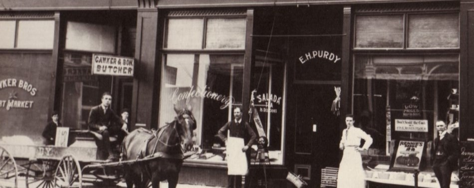 historical photo of downtown Port Perry showing Cawker Butcher