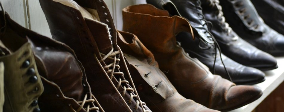 Pioneer shoes on display at the Museum Village