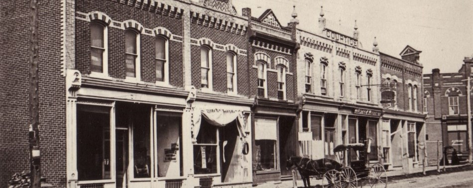 Historic photo showing the north side of Queen Street, Port Perry.